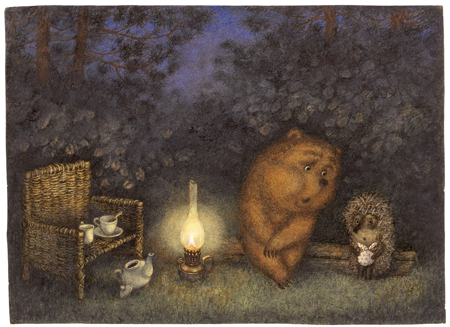 Hedgehog in the Fog - Illustration by Francesca Yarbusova and Yuri Norstein